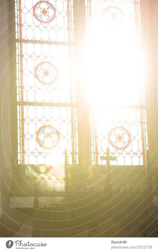 Sun shines through church windows Faith God and church Church Crucifix Church window sunshine Sunlight Belief pray Jesus Christ Remember Grief Hope corona
