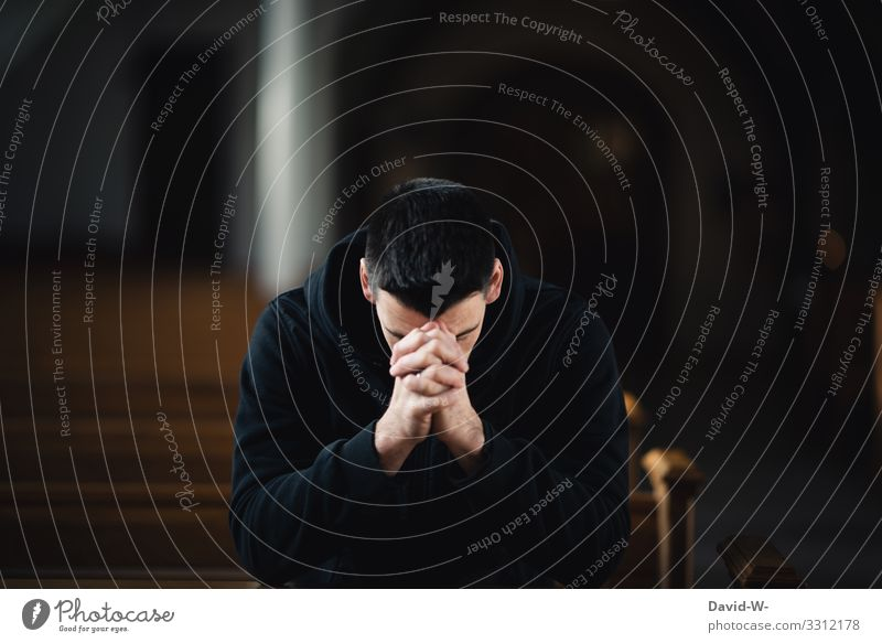 pray Lifestyle Style Healthy Illness Calm Human being Masculine Young man Youth (Young adults) Man Adults Face 1 Art Dark Grief Prayer Belief Religion and faith