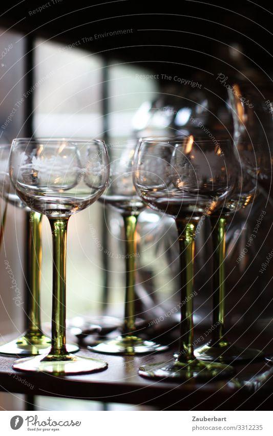 Green Calm Style Elegant Glass Stand Wait Transience Beverage Drinking Wine Serene Patient Wine glass Art nouveau