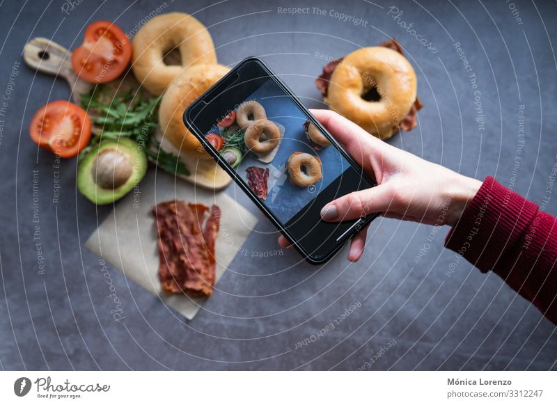 Hand's woman taking a photo of some bagels. Cheese Dough Baked goods Bread Eating Breakfast Diet Cellphone Woman Adults Stove & Oven Fresh blogging Smoked fish