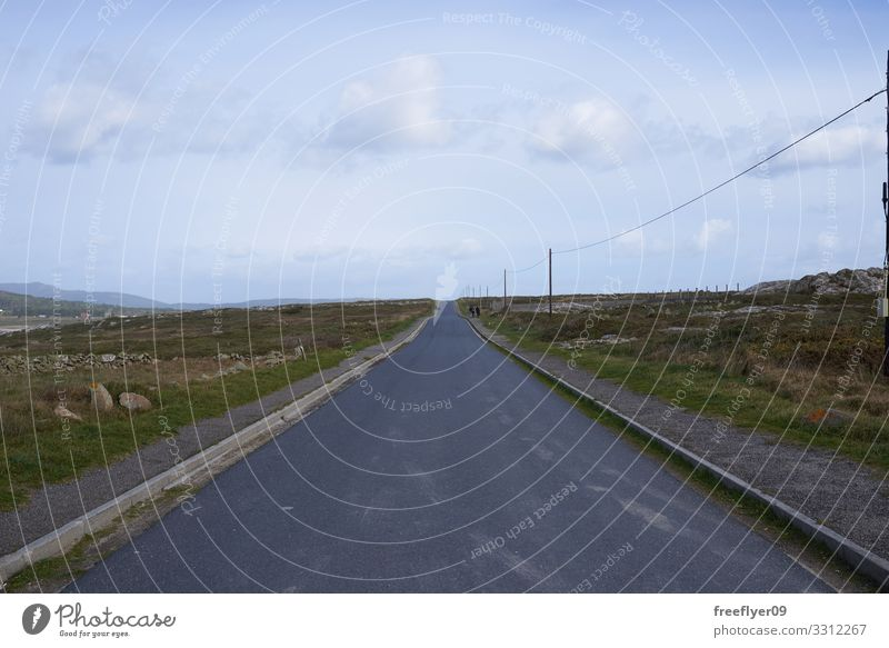 Empty straight road in Galicia Vacation & Travel Trip Nature Landscape Sky Clouds Transport Street Highway Car Line Long Speed Blue Serene Perspective country