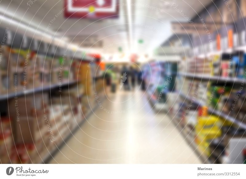 Abstract blurred supermarket aisle Food Lifestyle Shopping Business Sell Fresh Supermarket Storage background interior Retail sector Department shelf row buy