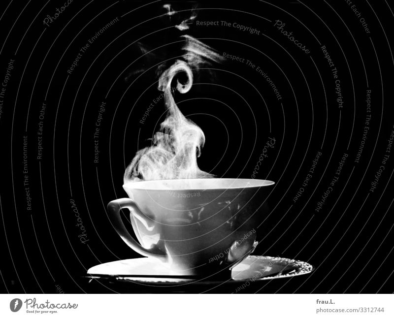 Coffee Beverage Hot drink Plate Cup Spoon Flat (apartment) Beautiful Contentment Steam Black & white photo Interior shot Copy Space left Copy Space right