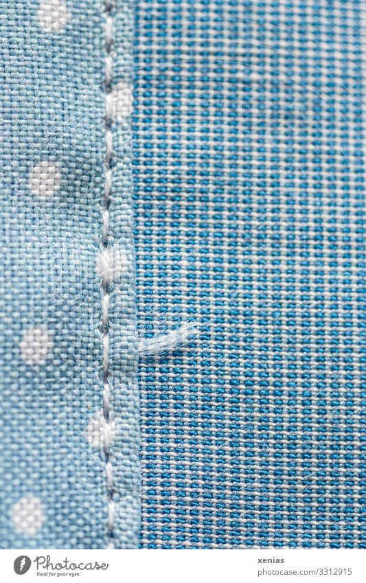 blue fabric with seam and dots Clothing Stitching Sewing thread Line Net Soft Blue White Point Spotted Rectangle End of thread Studio shot Close-up Detail