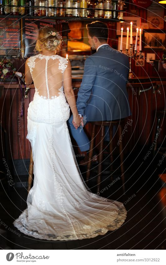 Isn't it romantic? Wedding bridal couple Bride Wedding dress Bride groom hold hands Roadhouse Counter Candlelight Matrimony Love Lovers Woman Husband Wife