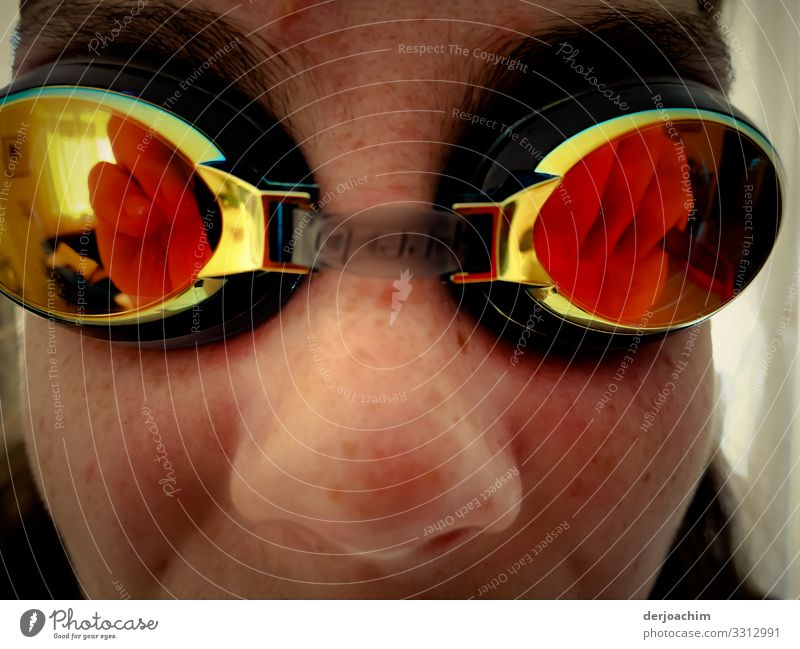 Reflection of swimming goggles. The glasses sit on the eyes of a girl. Life Aquatics Swimming & Bathing Feminine Family & Relations Youth (Young adults) Face 1