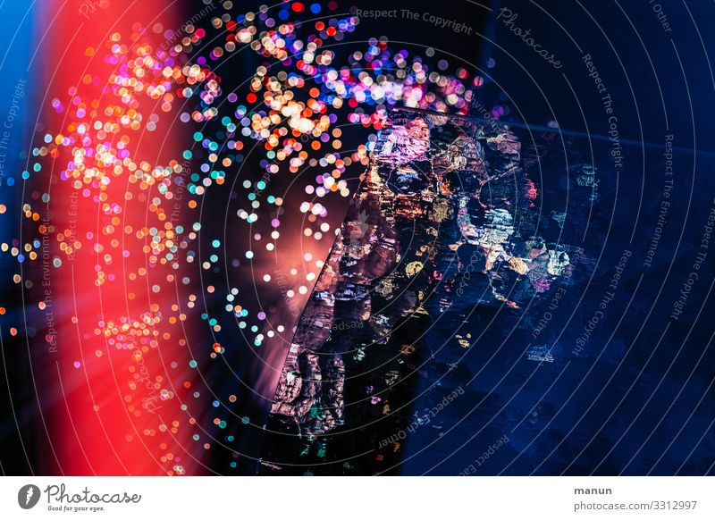 light show Night life Party Club Disco Feasts & Celebrations Carnival New Year's Eve Event Glittering Illuminate Fantastic Happiness Blue Red Moody Creativity