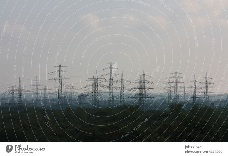Blue Green Horizon Exceptional Energy industry Large Esthetic Technology Cable Network Manmade structures Skyline Fear of the future Electricity pylon