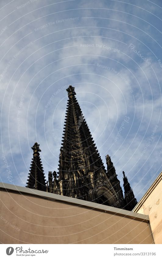 View upwards City trip Sky Beautiful weather Cologne Manmade structures Building Architecture Tourist Attraction Landmark Monument Cologne Cathedral Stone