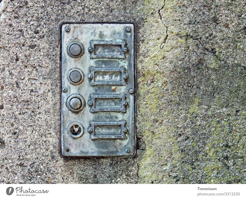 Written | missing Living or residing Wall (barrier) Wall (building) Name plate Bell Concrete Metal Old Broken Gray Green Silver Emotions Past Transience Empty