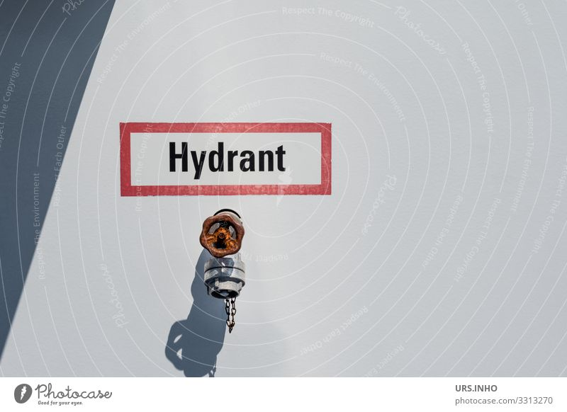 Hydrant in front of light background with shield Industry Fire hydrant Metal Simple Gray Red White Safety Protection Rescue Connection Characters