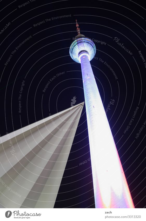 encounters Sky Night sky Berlin Town Capital city Downtown Deserted Tower Architecture Tourist Attraction Landmark Television tower Berlin TV Tower Sharp-edged