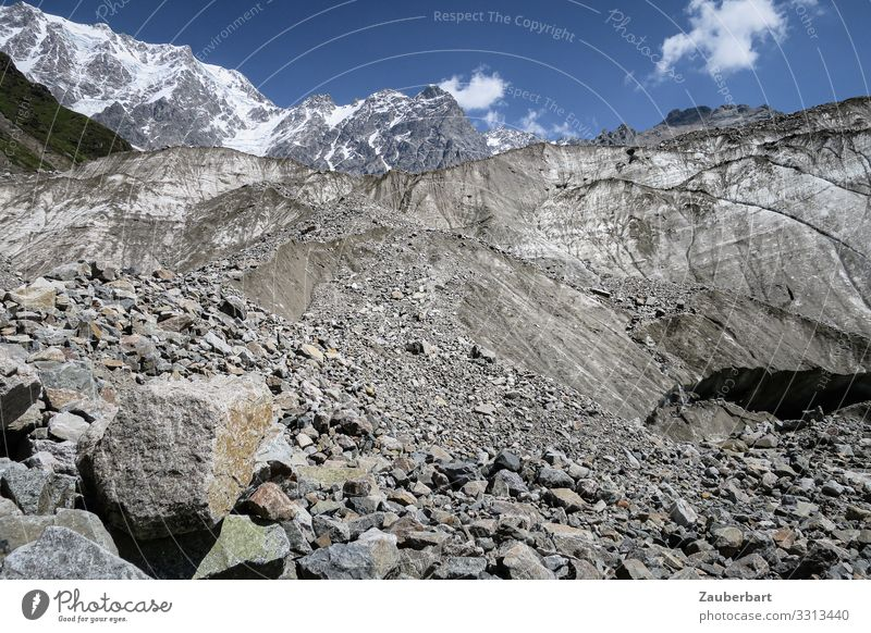 Boulder field in front of glacier in Svanetia Freedom Mountain Hiking Nature Landscape Summer Rock Caucasus Mountains Peak Glacier Relaxation Gigantic Natural