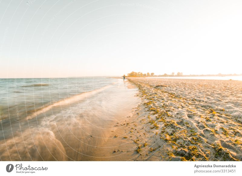 beach walk Beach seaside baltic Baltic Sea Baltic region Baltic states Poland Sand sunlight waves ocean Ocean Waves North Water