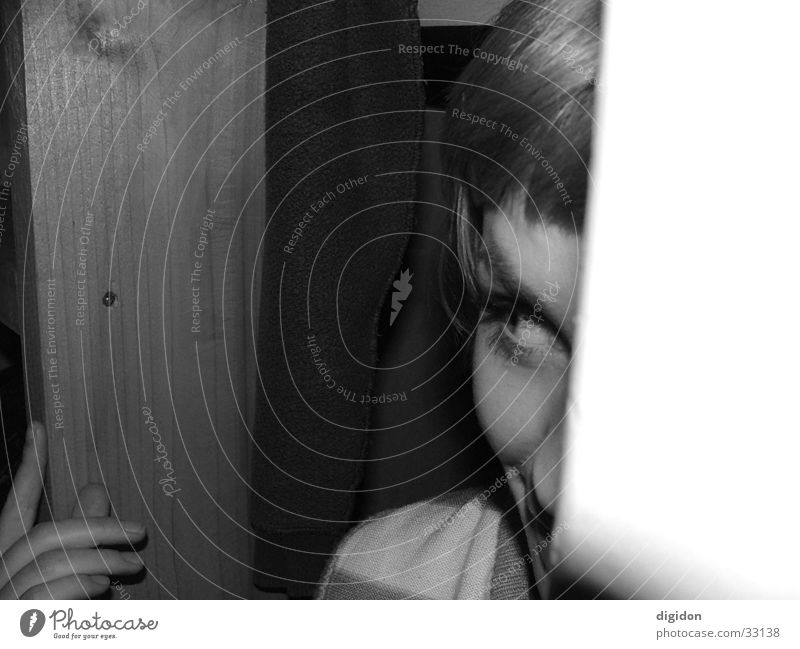 lucki lucki Human being Black & white photo cryptic Hide Woman Close-up Dark