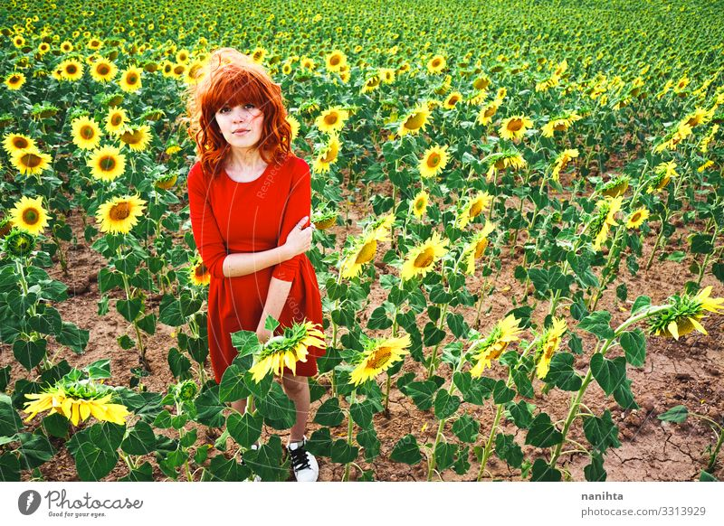 Lovely redhead woman enjoying the day in a field o sunflowers happiness spring young freedom life summer holidays fun funny candid real real people lifestyle