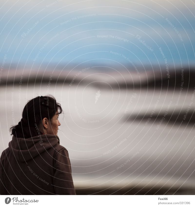 moment of rest Feminine Woman Adults 1 Human being 30 - 45 years Air Sky Clouds Summer Coast Fjord Infinity Blue Brown Black White Calm Wanderlust Loneliness