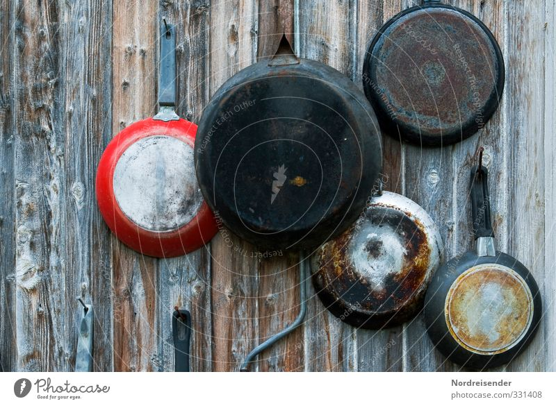 bits and pieces Nutrition Pan Cook Wall (barrier) Wall (building) Facade Bowl Decoration Kitsch Odds and ends Wood Metal Living or residing Happiness Uniqueness