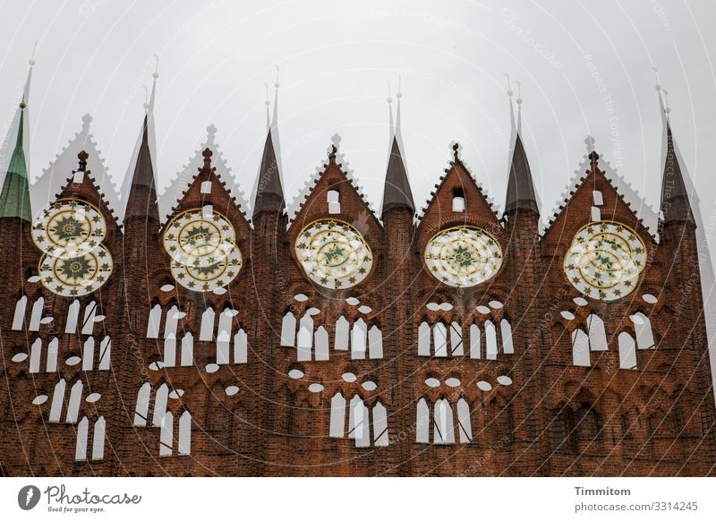 Stralsund Vacation & Travel Bad weather City hall Tourist Attraction Esthetic Brown Gray White Emotions Double exposure Colour photo Exterior shot Deserted Day