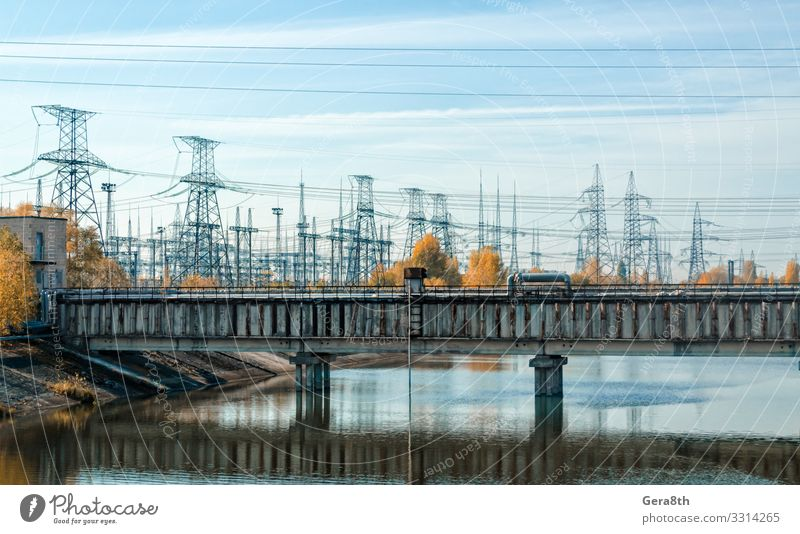 bridge over the river and the power line in Chernobyl Vacation & Travel Tourism Trip Industry Nature Landscape Plant Sky Clouds Autumn Tree River Bridge Old