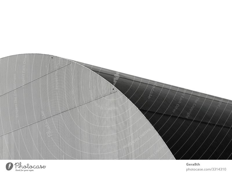 fragment of the dome of an industrial building House (Residential Structure) Building Architecture Line Dark Modern Gray Black White background Curve empty