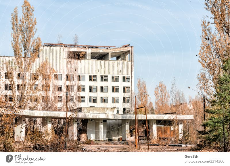 hotel on the street of the abandoned city of Chernobyl Vacation & Travel Tourism Trip House (Residential Structure) Landscape Plant Sky Clouds Autumn Tree Ruin
