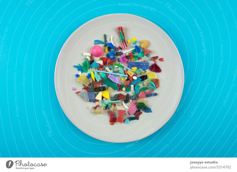 Plate full of micro plastics. Plastic pollution concept. Nature Ocean Food Environment Coast Small Earth Dirty Part Trash Sustainability Destruction