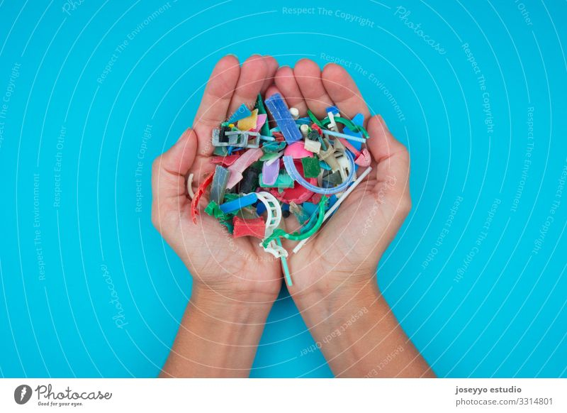 Hands full of micro plastics collected on the beach. Beach Ocean activists Awareness Cleaning Close-up Coast Damage Destruction Dirty Earth Ecological