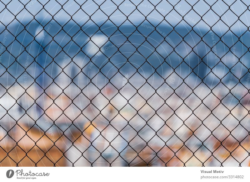 City through a chain link fence Town Capital city Port City Skyline Manmade structures Architecture Metal Steel Observe Looking Far-off places Curiosity Colour