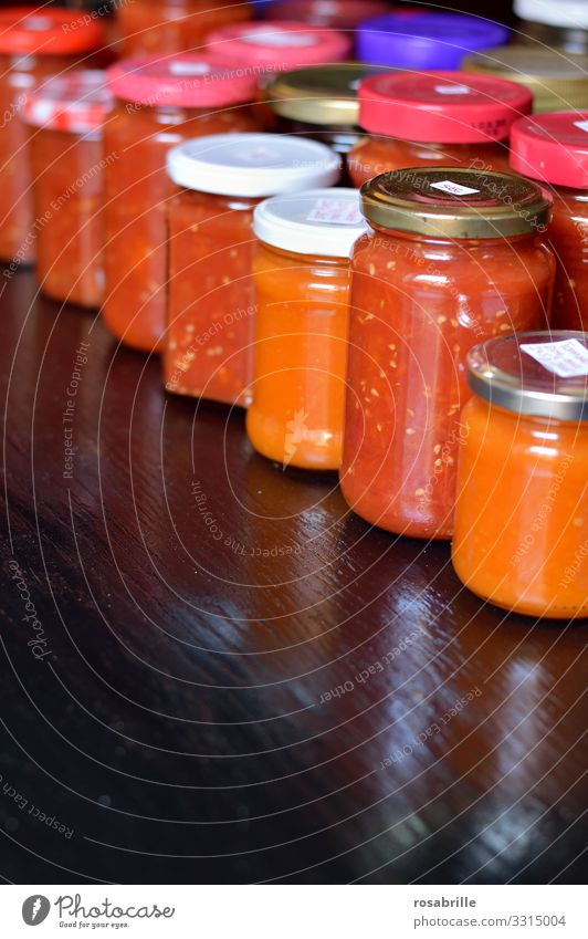 hoarding and storage of cooked tomatoes | corona thoughts warehousing Glasses boil down boiled down durable reserve Supply stockpiling Storage Shelves Self-made