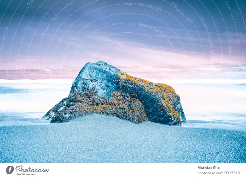 Big stone on the beach - Concept Environment Nature Elements Sand Water Sky Horizon Moss Garden Coast Ocean Stone Blue Orange turquoise White Colour Creativity