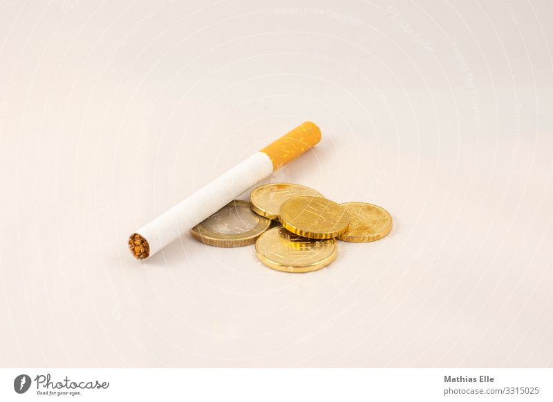 Cigarette with Euro coins Healthy Illness Smoking Cent Metal Digits and numbers Money Euro symbol Gold Orange Silver White Financial Industry Thrifty Tobacco