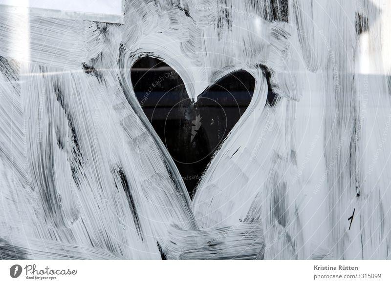 Painting heart Valentine's Day Wedding Window Sign Heart Love Cute Trashy Sincere Romance Window pane Paintwork Exterior shot