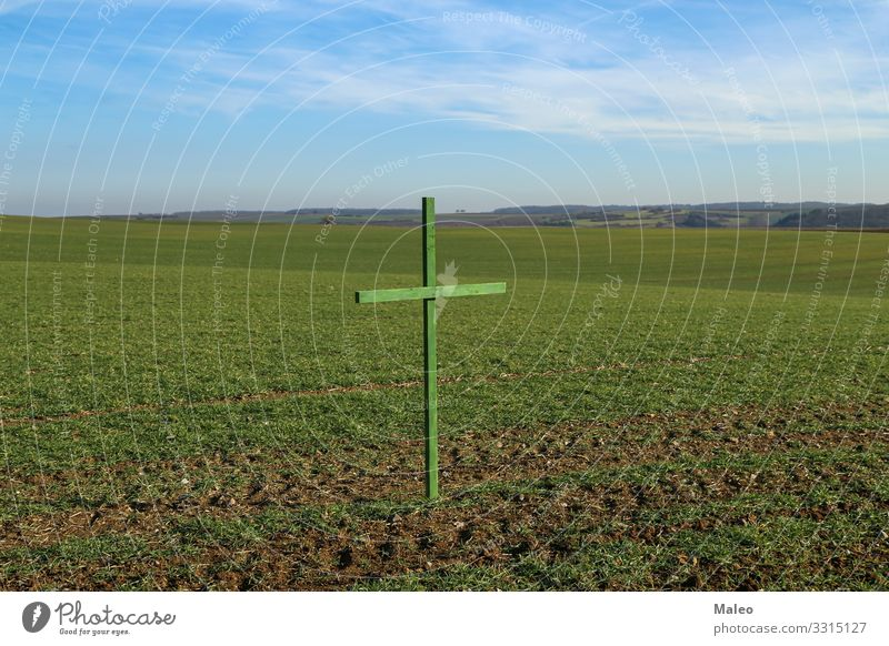 Green crosses on German fields Autumn Background picture Christianity Concepts &  Topics Concert Landscape Crucifix Crucify Ecological Environment Eternity Farm