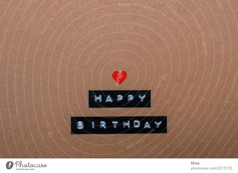 Happy Birthday written with heart Characters Heart Sympathy Friendship Birthday wish Birthday gift Card Brown Beige Label Colour photo Studio shot Deserted