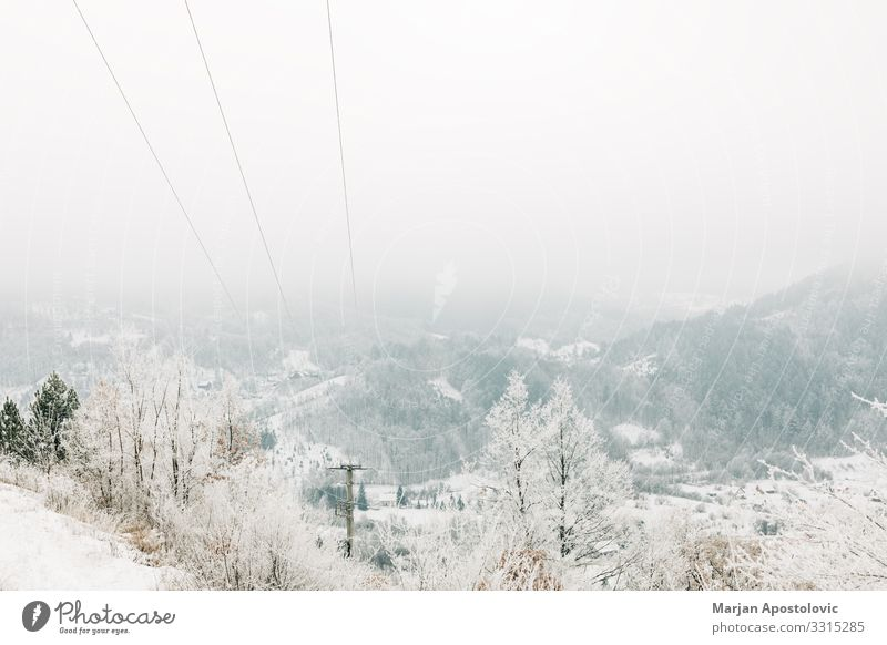 Landscape in the mountains covered in snow Vacation & Travel Nature White Forest Winter Mountain Environment Cold Natural Snow Moody Wild Fog Weather