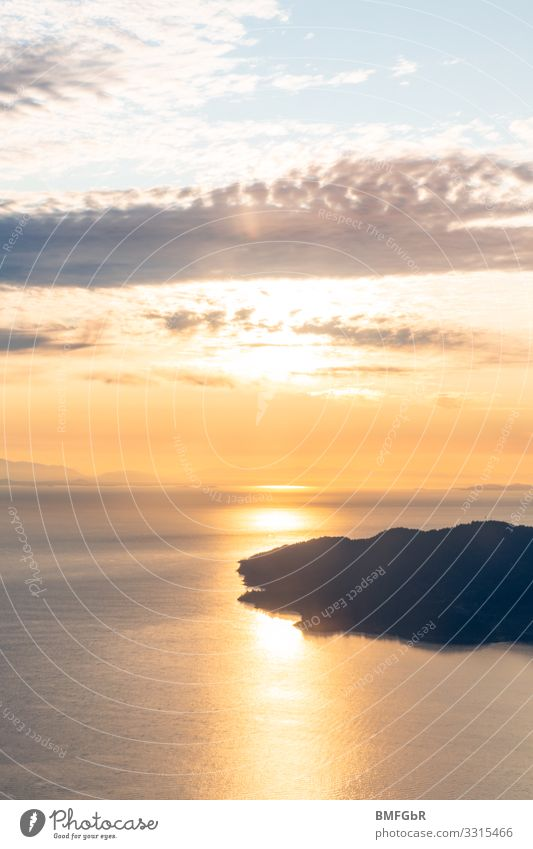 Sunset above the clouds Flying Environment Nature Landscape Water Sky Clouds Sunrise Coast Lakeside Bay Fjord Ocean Island Infinity Above Beautiful Happy