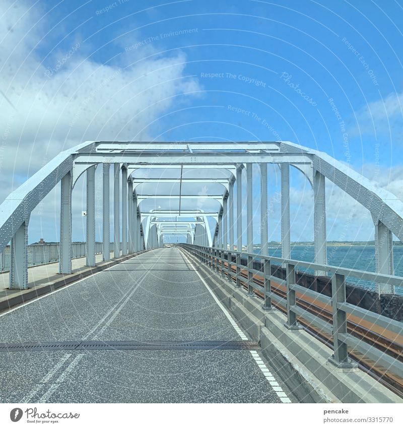 free travel to denmark!   corona thoughts bridge Architecture Sky Street Manmade structures Lanes & trails Traffic infrastructure pile-lander Sound Ocean