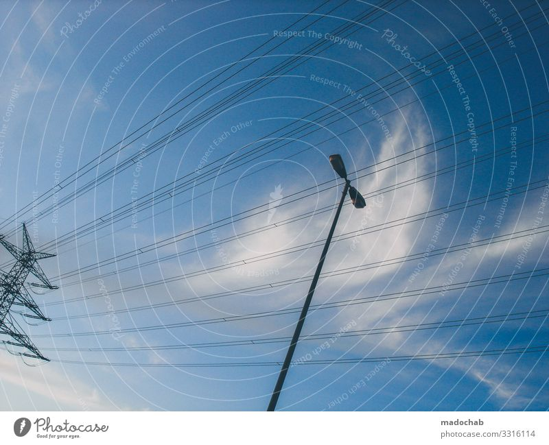 Current Lines Shaped Economy Energy industry Technology Advancement Future High-tech Renewable energy Nuclear Power Plant Industry Environment Nature Sky Clouds