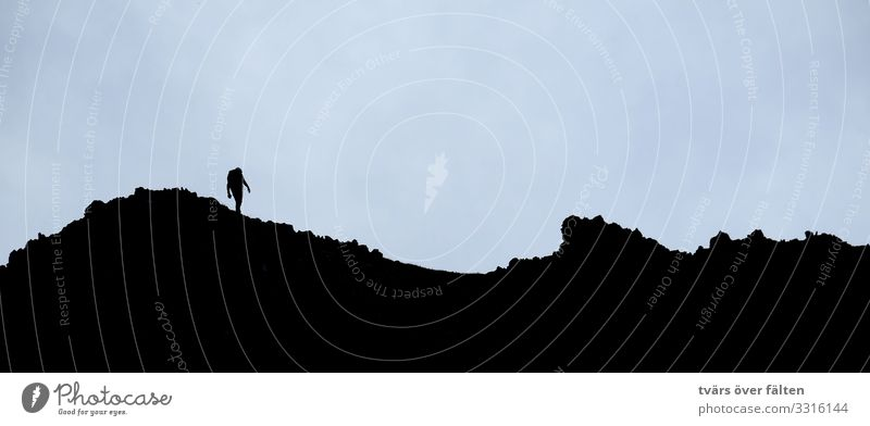 tightrope walk Climbing Mountaineering Hiking Human being 1 Alps Peak Walking Subdued colour Exterior shot Copy Space top Neutral Background Silhouette