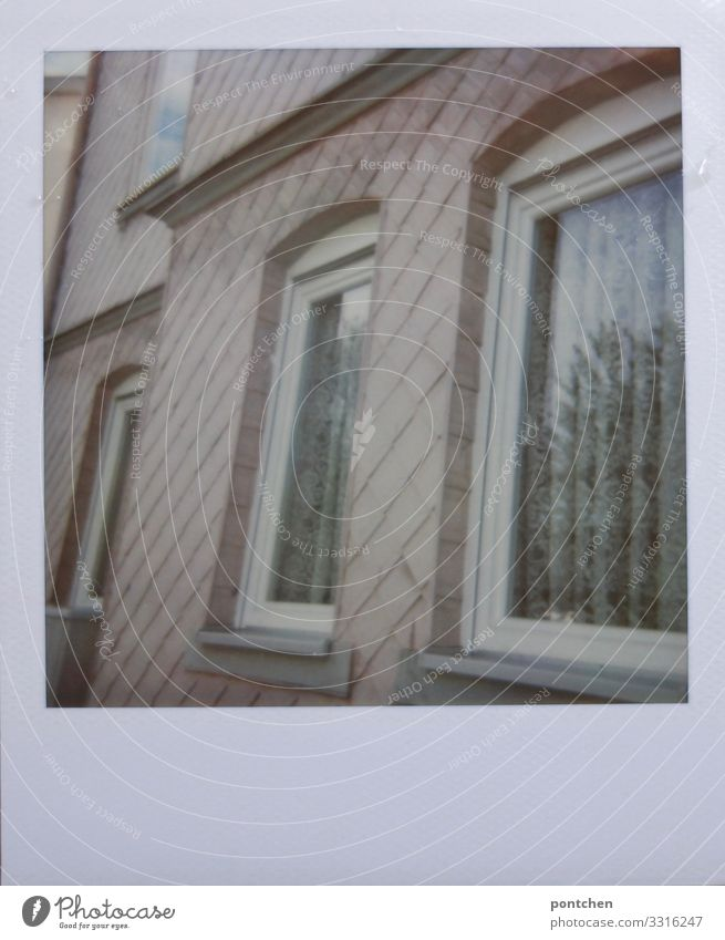 Polaroid of pink house facade House (Residential Structure) Old Hideous Drape Old fashioned Window Facade Pink Living or residing Colour photo Subdued colour