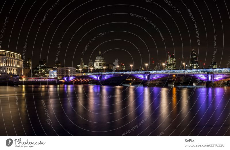 Skyline of London at night. Lifestyle Style Design Harmonious Relaxation Vacation & Travel Tourism Sightseeing City trip Art Architecture Environment Nature