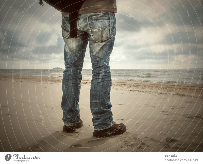 Rømø, your ship will be here. Masculine Man Adults Legs 1 Human being 45 - 60 years Music Nature Landscape Elements Sand Water Sky Clouds Horizon Sunlight Coast