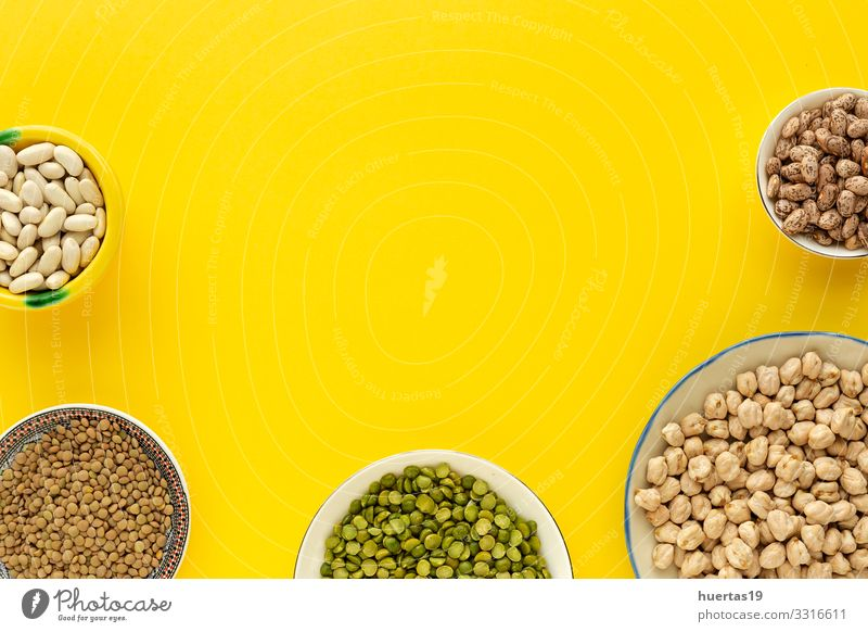 legumes, lentils, chickpeas, beans, green lentils Vegetable Nutrition Vegetarian diet Diet Bowl Spoon Healthy Eating Natural Green food Raw Organic Ingredients