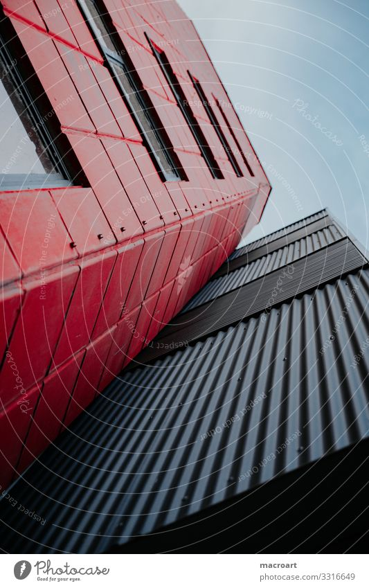 architecture Architecture Manmade structures Building Structures and shapes Line Metal Corrugated sheet iron Red Black Sky Worm's-eye view Window Glass