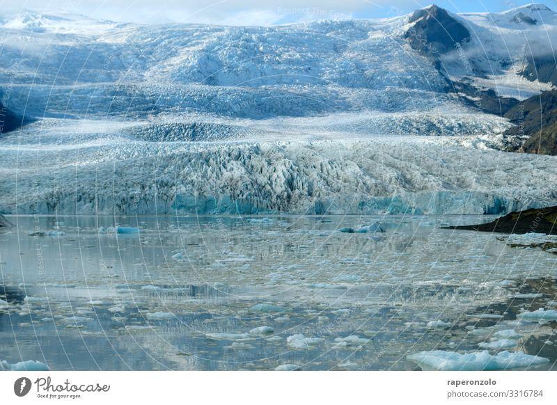 Part of a glacier in Iceland in sunlight Glacier Glacier ice glacial lake sparkle icily chill Blue Climate glacier blue Landscape Climate change Deserted