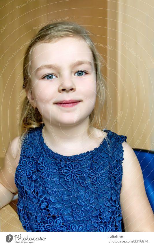 Cute girl in dark blue dress Child Schoolchild Woman Adults Infancy Dress Blonde Blue White kid preschooler Lady six 7 Caucasian European eight nine one