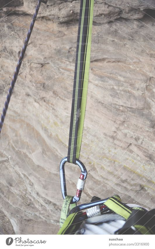 on the hook Rescue Safety Climbing Belt Rock Stone Dangerous Risk of collapse Leisure and hobbies snap hook hooked Firm Checkmark Climbing equipment Sports