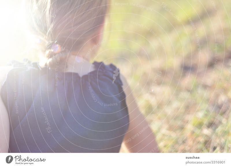 The sun on your neck Child Girl Hair and hairstyles Rear view Nape Summer Warmth Sun Exterior shot Sunbeam Light Shallow depth of field Romance Time Stay