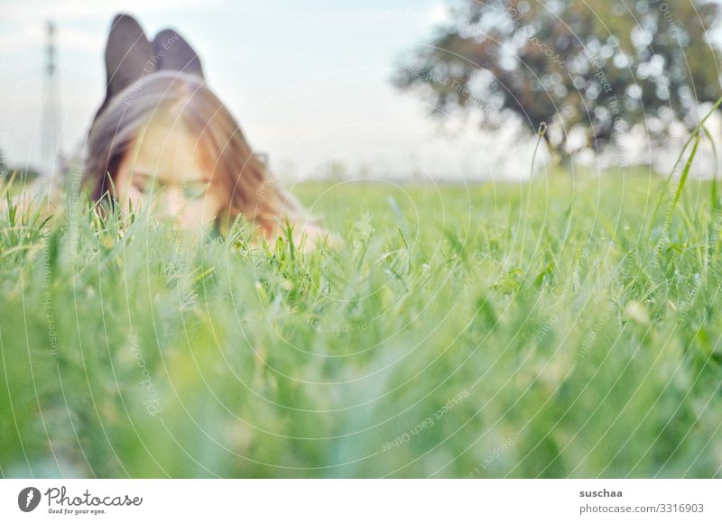 lie on grass Child girl Relaxation Grass Lie Head Face Nature Environment Fresh Exterior shot Summer spring Fragrance Meadow
